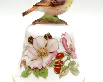 Crown Staffordshire Thrush on a Bell, Handcrafted, Hand Painted Thrush