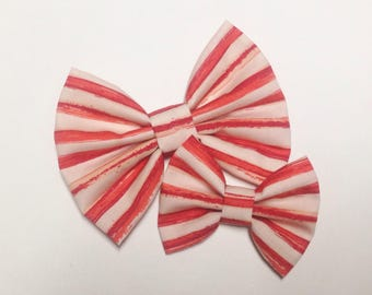 Red Watercolor Stripes Bow | Fabric Bow | Handmade Hair Bow | Hair Clip | Headband