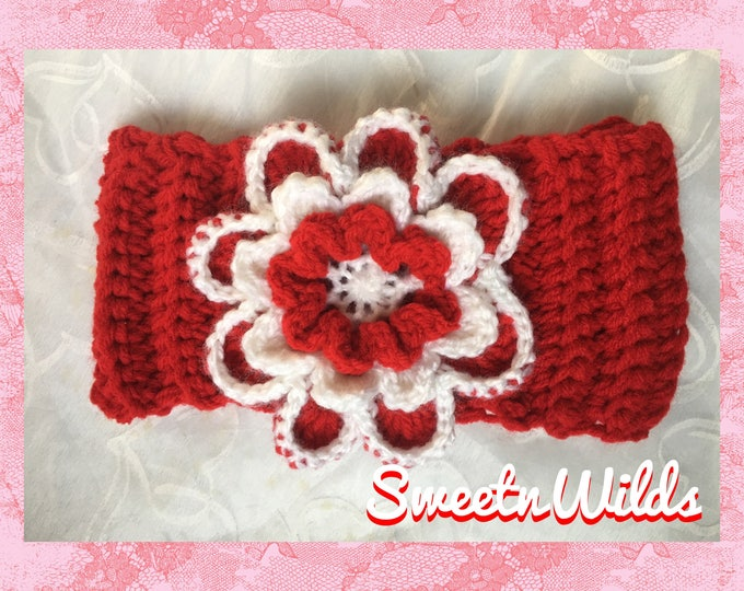 Big Red Christmas Headband-Women's Earwarmer-READY TO SHIP-Holiday Hairband-Crocheted Flower Headband