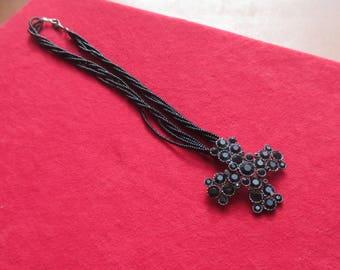 Retro Black Rhinestone Cross Multi Strand Beaded Necklace Missing Rhinestone