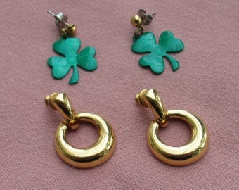 Retro Green Shamrock Dangling Pierced Earrings Plus Hoop Pierced Earrings