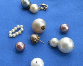 Lot Of Vintage Faux Pearl Beaded Dangles Loose Beads Single Odd Earrings Wired Piece TLC