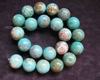 Natural Himalayan Turquoise Bead Strand 16.5mm, Natural Turquoise Beads, Round sphere Shaped Turquoise beads