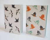 Pack of 2 A6 Notebooks - Swallow & Kingfisher print Notepads, Sketchbooks.
