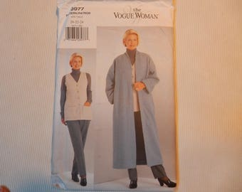 Vogue Woman 9977  Very Easy Coat, Vest, Pants Sizes 20, 22, 24
