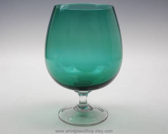 Green coloured glass brandy balloon/vase