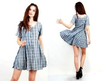 Vintage Cotton Dress / Blue Plaid Dress / Summer Dress / Day Dress / Simple Dress / Button Up Dress / Medium Dress /