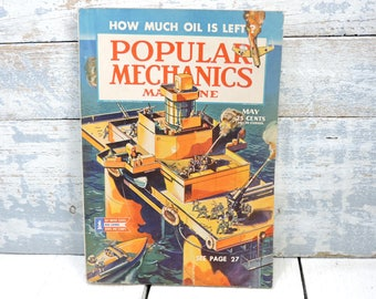 Vintage Popular Mechanics Magazine How Much Oil is Left May 1944 WWII Story Advertising Collectible Old Magazines Camel Ad on Back Cover