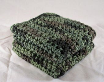 Camo Cotton Spa Set, Camo Cotton Washcloth, Camo Crochet Washcloth, Camo Dishcloth, Camo Washcloth Spa Set
