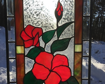 PANEL - Stained Glass Hibiscus Panel
