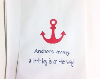 ON SALE Personlized Candy Buffet Favor Bags, Baby Shower Favor Bags, Lolly Bags, Nautical Favor Bags, Kraft Bags