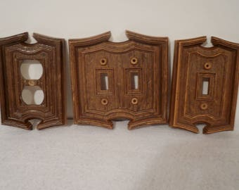 9 Vintage Plastic Switchplate - brown switchplates - plastic switch plate - outlet cover - Light Switch Covers
