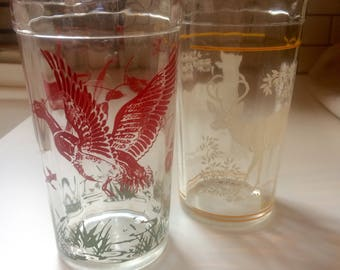Pair of juice glasses with duck and stag patterns