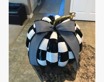 Whimsical Black and White Check Pumpkin with Striped Bow