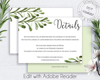 Editable PDF Wedding Info Card, Details Card Wedding, Enclosure Card, Wedding Insert Card, Invitations Hotel, Greenery Wedding, Minimalist
