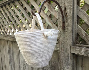 Hanging Coiled Basket with Braided Handle