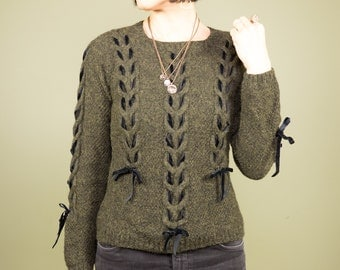 90s Goth Sweater Army Green Wool Pullover Black Velvet Ribbon Lace-Up Detail  Heather Olive Green ~ Small