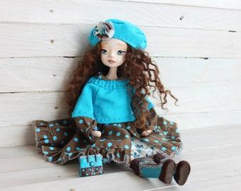 Art clay doll, Collecting doll, sculpted clay doll, OOAK Art Doll, Handmade doll, doll Valeria