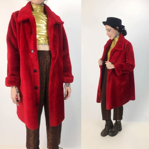 Vintage Furry Cherry Red Coat Medium - Remade One Of A Kind Bright Red Faux Fur Coat Retro Outerwear w/ Star Buttons - Acrylic Red Shag Coat