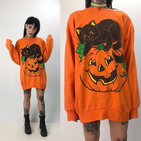 90's Halloween Cat Pullover Sweatshirt Medium Long - Spooky Cute Crew Neck Cat Pumpkin Festive Jumper - Halloween VTG Cat Sweater/Dress