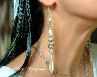 """White earrings """" Divinely you """" elvish crystal pearl romantic magic"""