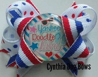 """Dog Bow- July 4th/Independence Day """"YANKEE DOODLE DIVA"""" Boutique"""