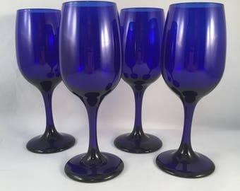 Beautiful Tall Cobalt Blue Wine Glasses Set of 4, Deep Blue Glassware, Barware, Stemware, Deep Blue Stemware Glasses, Cobalt Blue Glasses