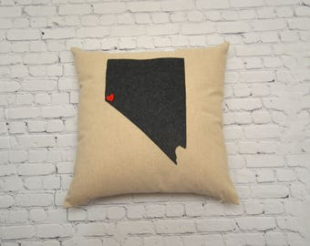 Custom Pillow - Nevada Pillow - 18 x 18 cover only - Personalized Gifts for Mom - Gift for Girlfriend - Valentine's Day