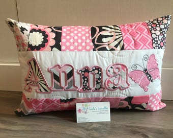 Pink and grey flower pillow, 12x18 inch
