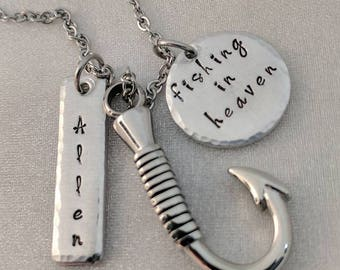 Fishing In Heaven - Sympathy Gift - Personalized Memorial Urns - Loss of Dad - Fishing Hook Urn Necklace - Ashes Necklace - Memorial Gift