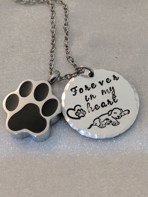 Pet Urn Necklace - Loss of Pet Keepsake - Forever in my Heart - Urn for Ashes - Pet Memorial - Loss of Dog - Loss of Fur Baby - Handmade
