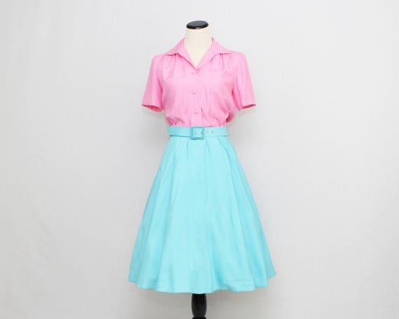 Vintage 1950s Cotton Candy Button Down Shirt Dress - Size Medium