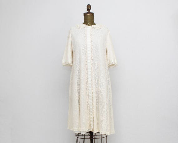 Vintage 1950s Lace Peignoir Robe by Odette Barsa