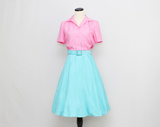 Vintage 1950s Cotton Candy Button Down Shirt Dress - Size Medium