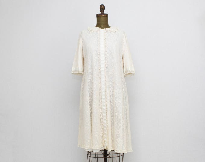 Vintage 1950s Lace Peignoir Robe by Odette Barsa