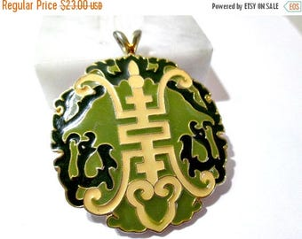ON SALE Large Oriental Pendant Chinese Symbols Word Green Yellow Enamel Oriental Asian Vintage 1970's