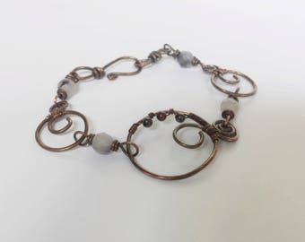 Copper rustic bracelet, Jasper bracelet, Beaded bracelet