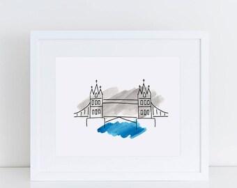 London Art Print // London Tower Bridge, London illustration, London landmark, travel gifts, home decor, London gift, watercolor painting