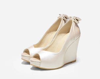 Custom Made Wedge, 5 Inch Platform Wedges, Beach Wedding Shoes, Garden Wedding Shoes, Wedges, Bridal Wedges, Wedding Wedges