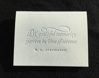 Sympathy Card with Quote by R. L. Stevenson in Calligraphy