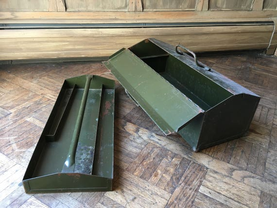 Industrial Toolbox With Removable Tool Caddy Tray, Vintage Metal Tool Box, Steel Toolbox Storage, Military Green Industrial Storage