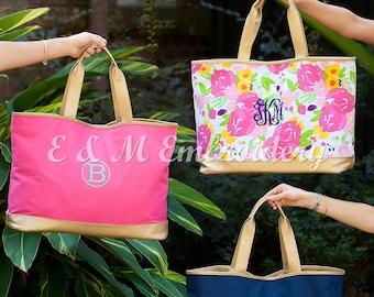 Monogrammed Cabana Large Tote Bag