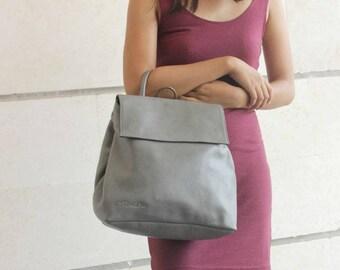 Sale 20% Grey leather shoulder bag ,  Crossbody bag leather , Convertible backpack , Messenger bag . Leather crossbody backpack