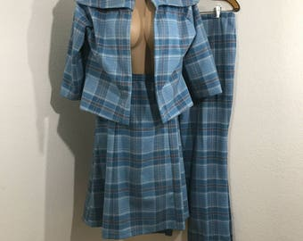 Vintage Custom Made 3 Piece Blue Plaid Suit Unfinished 8/10