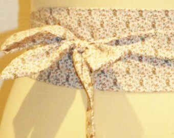 81 Pink/White/Brown floral fabric tie belt