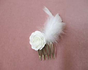 bronze bridal hair comb with beaded flower and feather
