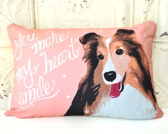 Shetland sheepdog Art Pillow- You're The Sunshine In My Heart