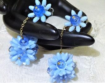 Vintage Plastic and Blue Glass Bead Dangle Earrings
