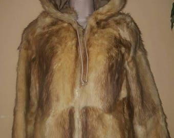 FREE SHIP BONUS Mink or Rabbit womens vintage 80S hooded Fur Jacket Coat sz small