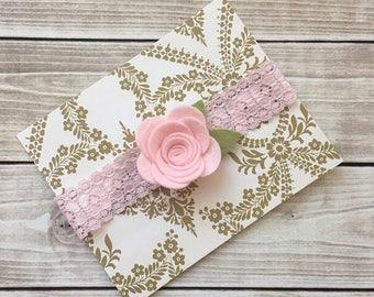 Felt Flower Headband/Baby Headband/LaceHeadband